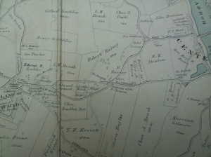 A section of the 1909 map ofHuntington showing the new road built by Roy Rainey.