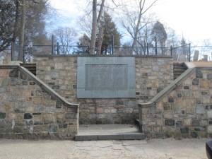 Huntington's World War I Memorial on Main Street.  The Memorial also serves as an entrance to the Old Burying Ground where many of Huntington Revolutionary War veterans are buried.
