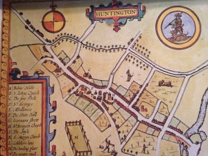 1662 map of Huntingdon, note the spelling of the name.