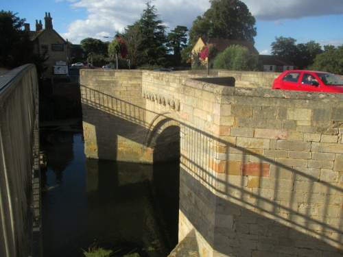 The stone bridge between Huntingdon and Godmanchester.  Built in 1332, now open to cars!