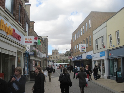 Huntingdon's pedestrianized High Street.