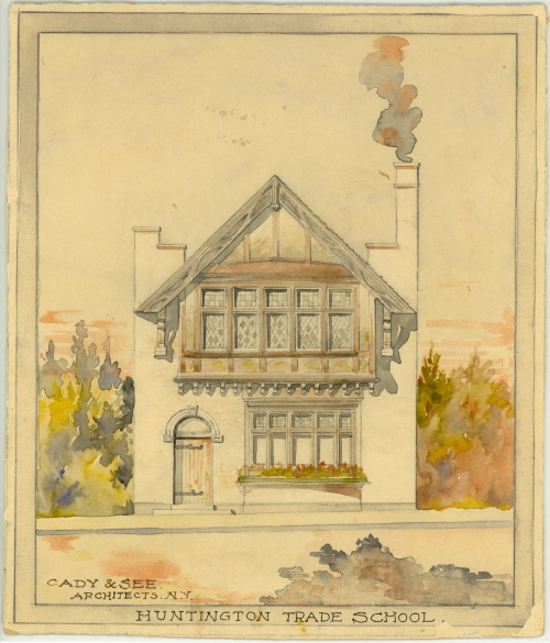 The architect's rendering of the Trade School building, 1905