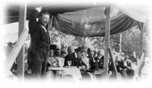 President Theodore Roosevelt at Huntington's 250th Anniversary celebration.