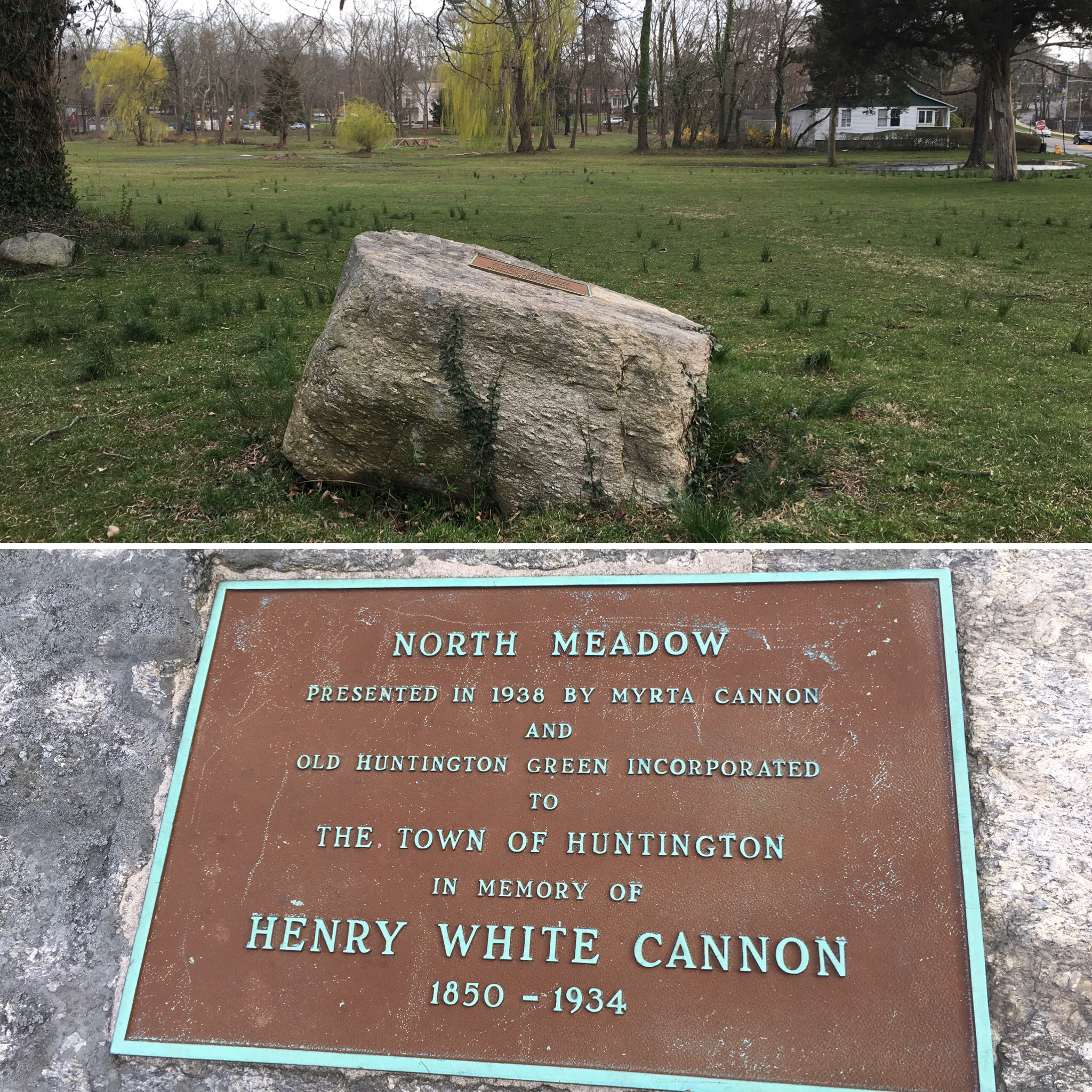 On the North Meadow adjacent to the Village Green is a memorial to the man who helped expand the open space in the heart of the Town Spot.