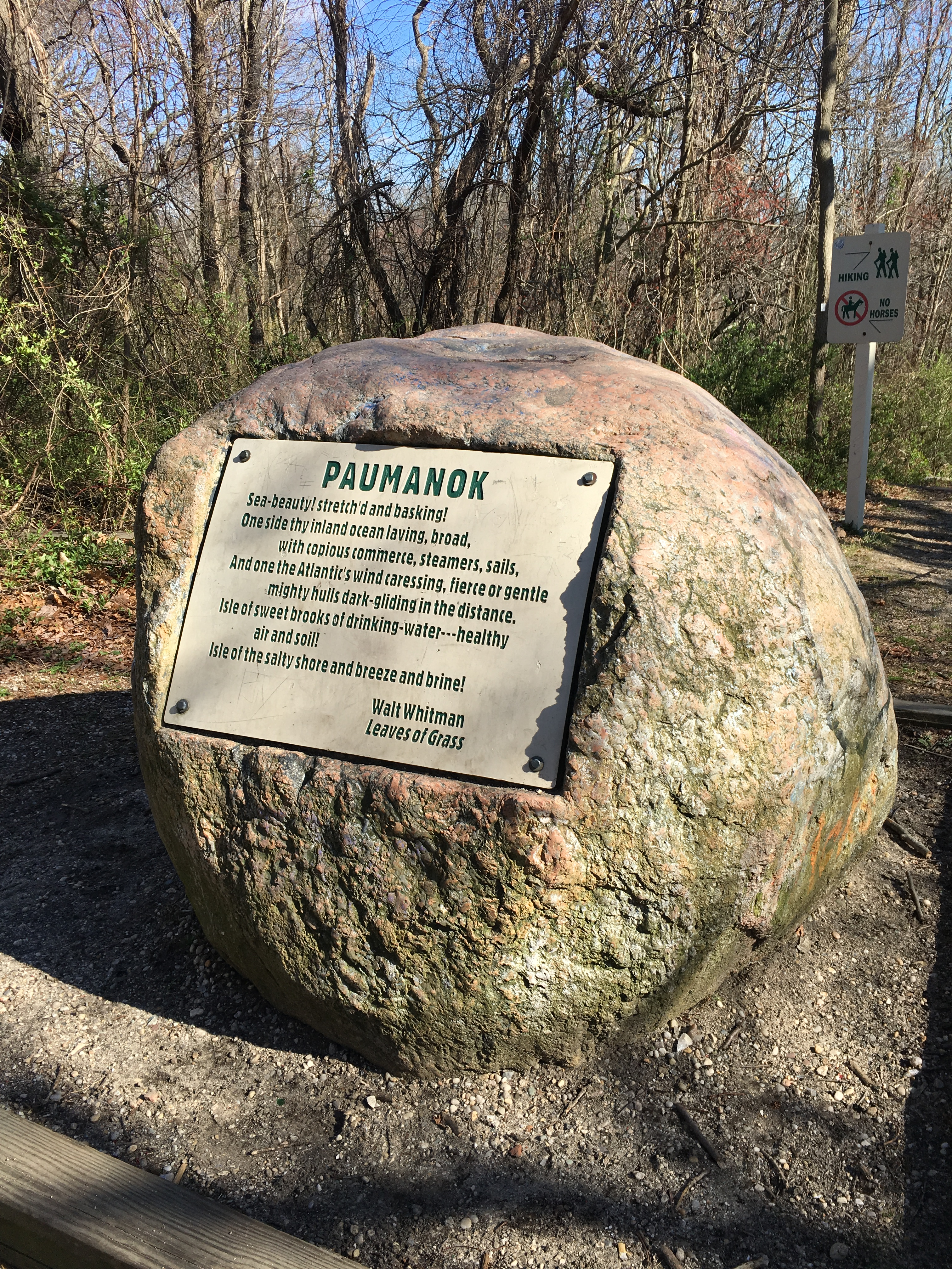 From the valley of Park Avenue to the highest point of Long Island, this boulder marks the summit of Jayne's Hill, a favorite spot for Walt Whitman to visit.