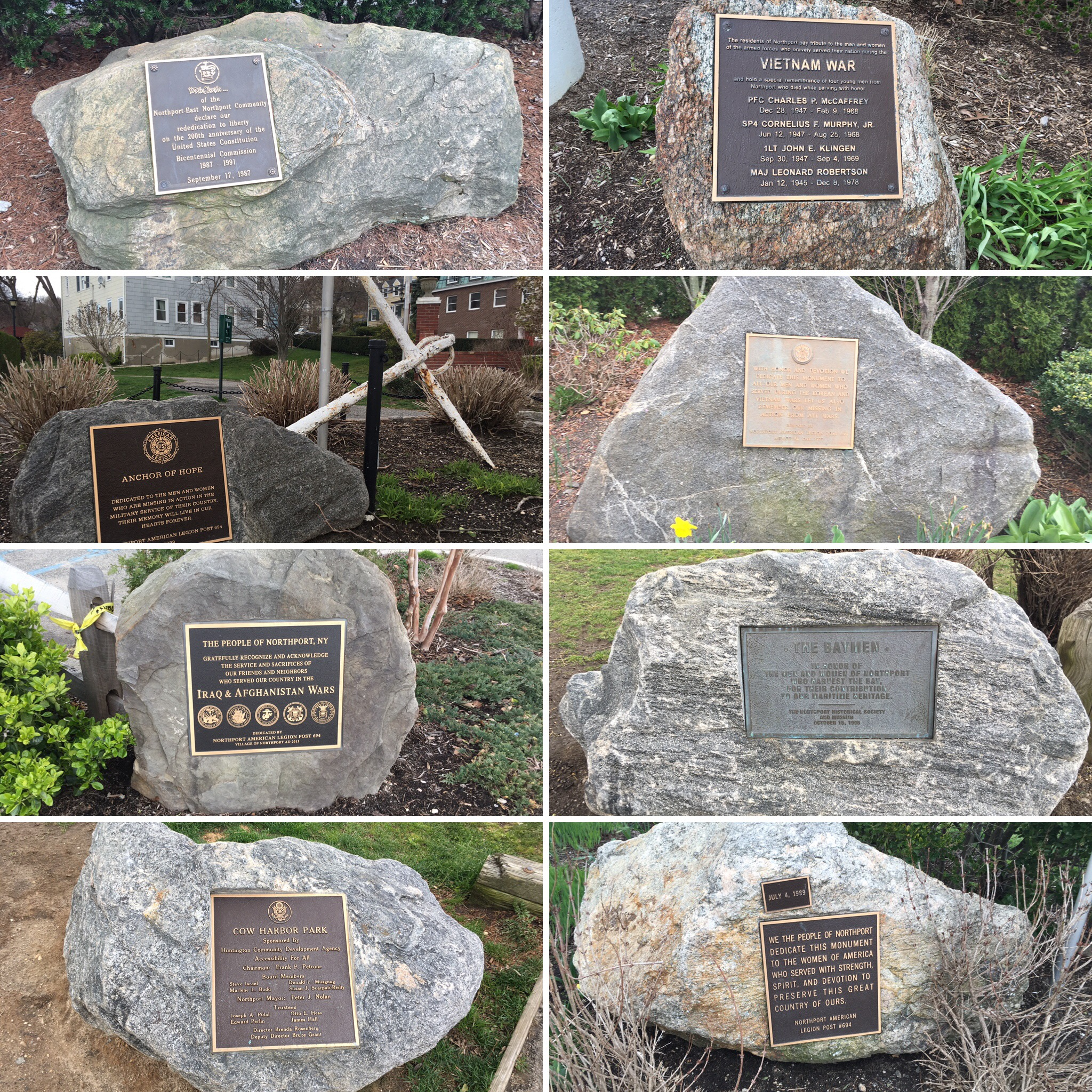 Near the waerfront in Northport village is perhaps the greatest concentration of memorial boulders in Town.