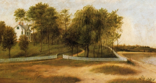 Portion of James Long Scudder's 1875 painting of the Hawkins House.
